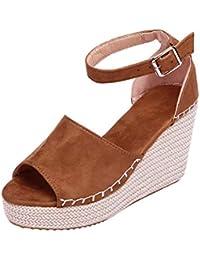 Minetom Mujer Sandalias Alpargatas Chancletas De Tacón Alto Plataforma Cuña Playa Zapatos De Verano Hebilla Espadrille