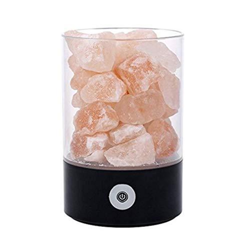 Ywt lampada di sale di cristallo himalayano usb ricaricabile naturale sale ioni negativi lampada con interruttore tattile comodino camera da letto luce di notte regalo di salute creativo,black