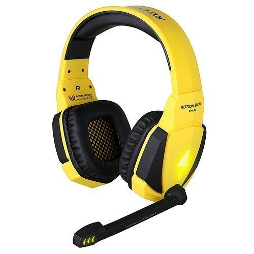 GranVela G4000 Gaming Headset USB Stereo Headphones with Enhanced Bass, In-line Control, LED Lighting and Microphone for Computer Game (Yellow)