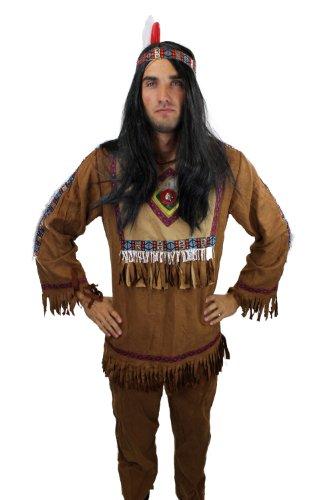 Kostüm Herren Herrenkostüm Indianer Häuptling Apache Feder L030, Gr. 56, XL (Indianer Federn Kostüm)