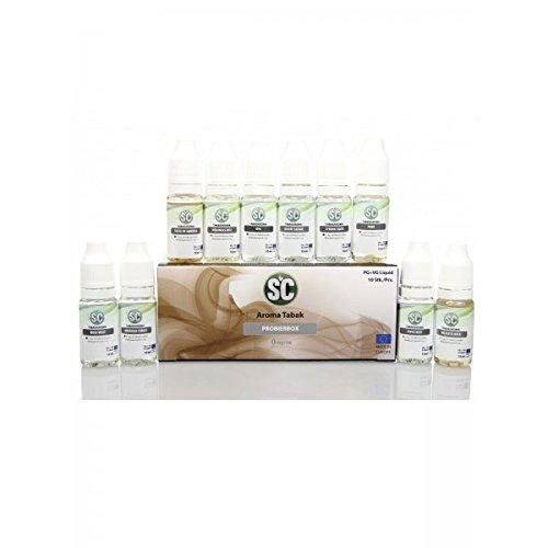 "SC Liquid Probierbox \""Aroma Tabak\"" mit 10 verschiedenen Aromen Geschmäckern 0mg/ml Nikotin E-Zigaretten"