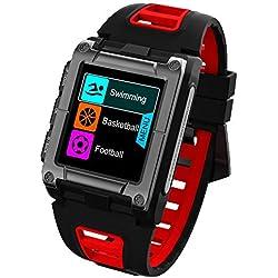 OOLIFENG Montre Connectée Étanche IP68, Montre GPS De Natation Connectée avec Cardiofréquencemètre, Sport Fitness Tracker avec GPS Et Cardio Montre pour Android Et iOS,Red