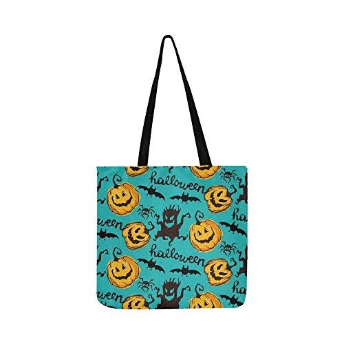 Halloween Endlose Textur Kann Leinwand Tote Handtasche Schultertasche Crossbody Taschen Geldbörsen Für Männer Und Frauen Einkaufstasche