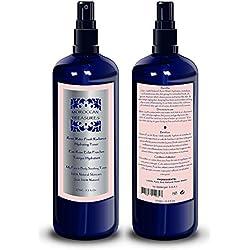 Eau de Rose Bio 100% Naturelle - Nettoyant Visage - Lotion Tonique Visage Corps et Cheveux - Hydrolat de Rose Tonifiant Anti-age et Antirides aux propriétés Anti-Inflammatoires -275ml