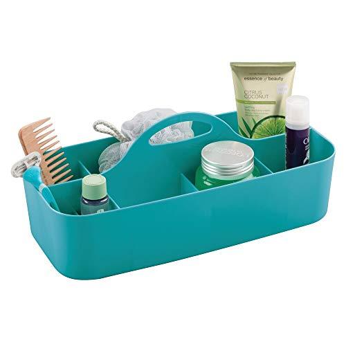 mDesign Badezimmer Korb mit Griff - als Kosmetik Organizer, Küchen Aufbewahrungsbox oder Handtuchhalter - kleine Bad Box aus robustem Kunststoff - Petrol (Kleiner Korb Griff)