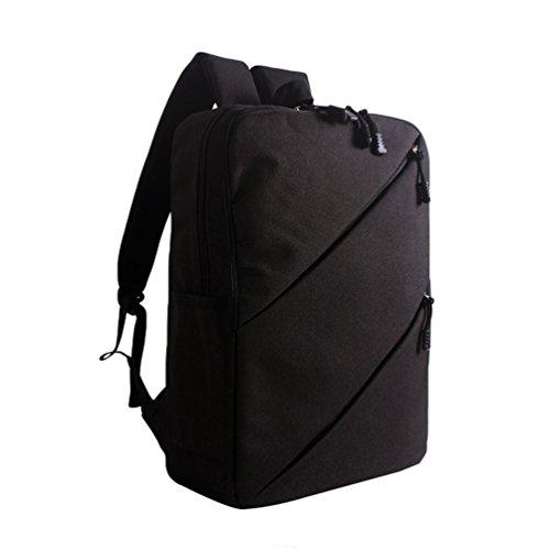 ZKOO Leinwand Schulrucksack Rucksäcke Laptop Rucksack Tagesrucksäcke Daypack Reiserucksack Buch Damen & Herren Taschen Mode Freizeit Schwarz2