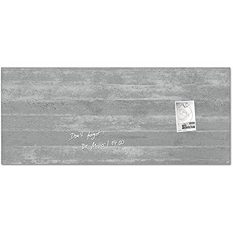 Sigel GL248 130 x 55 cm, dimensioni della Lavagna/bacheca magnetica in vetro Artverum, Fairfaced cemento