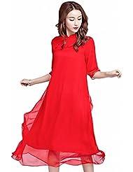 Modifié Cheongsam Robe Nationale de Soie Rouge en Soie Soie Robe Longue Jupe