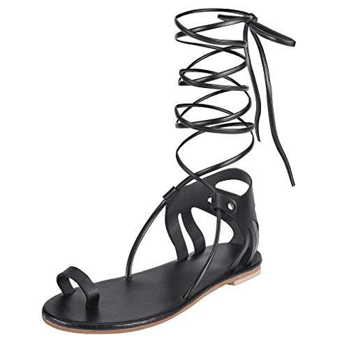Damen Schnürung Flache Bequem Sandalen, LeeMon Sommer Herbst Stiefeletten mit Schnürung Cut Out Sandalen Bequem Schuhe - Schnürung Flach