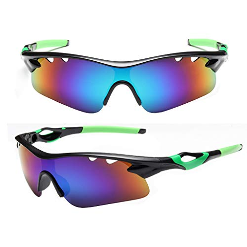 EUCoo Sonnenbrillen Fahrradbrillen Unisex-Outdoor-Sportbrillen, ExplosionsgeschüTzte BrillengläSer(Grün)
