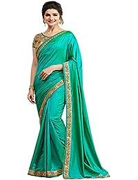 Finix Fashion Women's Raw Silk Saree With Blouse Piece (A12_Aqua_Aqua Green)