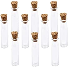 WINOMO 10pz Mini Bottiglie di Vetro con Tappo di Sughero (Trasparente)