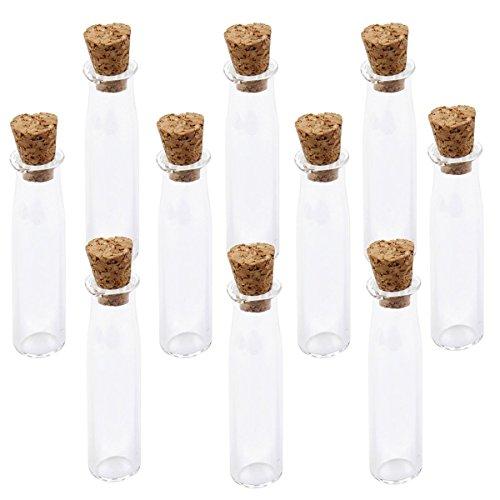 Tinksky 10pz Mini vetro bottiglie vasetti con bottiglia di sughero desiderio nota Craft (Chiaro)