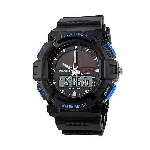Sports de plein air montres SKMEI marque énergie solaire 2Time Zone Montre à quartz numérique LED étanche Hommes wristwatches-blue