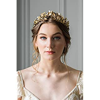 Kercisbeauty Halloween Athena Vintage Baroque Crown with Oliver Branch,Full Round Tiara for Party,Prom(Gold)