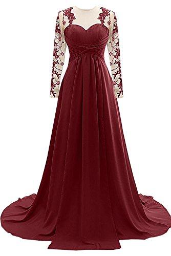 Topkleider Damen Elegant Schwarz Spitze A-Linie Abendkleider Lang Partykleider Mutterkleid mit Langarm-34-Dunkelrot