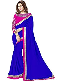 Om Designer Women's Pure Chiffon Saree with Embroidered Unstiched Blouse (Blue)