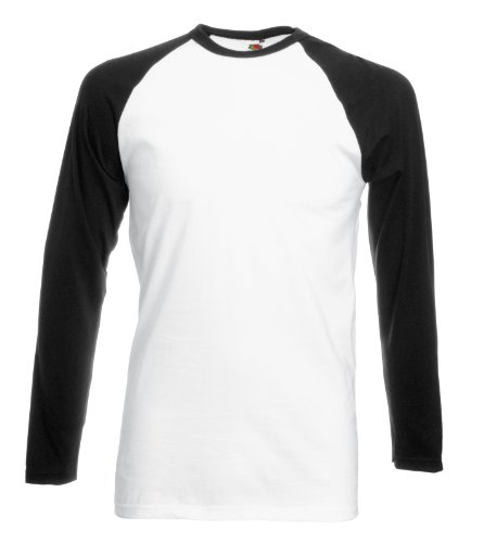 Fruit of the Loom Herren, Regular Fit, T-Shirt, Baseball XX-Large,Weiß/Schwarz (Baseball-t-shirt Weiße)