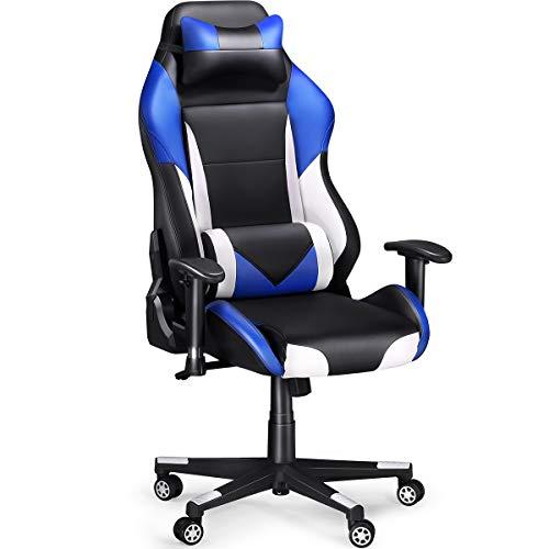 Slypnos [Verbesserte Version Racing Stuhl ergonomisch, schreibtischstuhl Racer Computerstuhl bis 136 kg, Neigung- und höhenverstellbar, prima PU- Leder und großer Raum für Lange Zeit Arbeit und Game