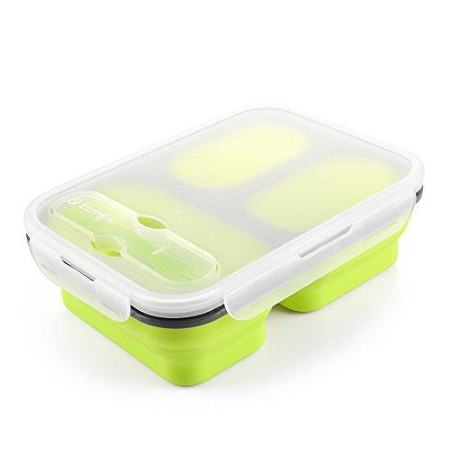 Zanmini contenitori per alimenti, contenitore portapranzo in silicone, contenitore alimentare con tre scomparti disponibile al forno a microonde, multiuso a casa e all'aperto(giallo)