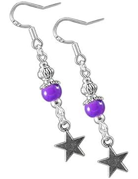 Katharina Fairytale Damen Mädchen Ohrringe der Traumelfe lila Perlen Ohrhaken aus 925er Sterling Silber