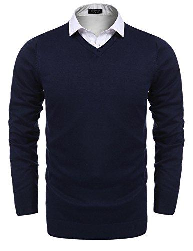 Onbay Herren Basic Strickpullover Casual Langarm V-Ausschnitt Pullover Gestrickten Sweater aus hochwertiger Baumwollmischung (Acryl-pullover V-ausschnitt Mit)