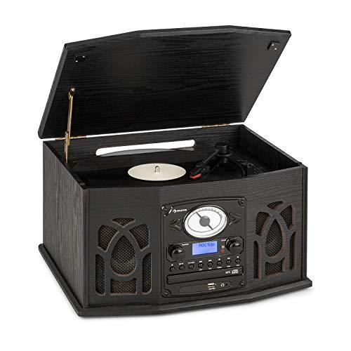 AUNA NR-620 DAB Stereoanlage, Plattenspieler mit 33 und 45 RPM, CD-Player, Kassettenrekorder, Radio, Bluetooth, USB-Port, Easy Recorder, spielt CD, CD-R/RW & MP3CD ab, Holzdesign, schwarz