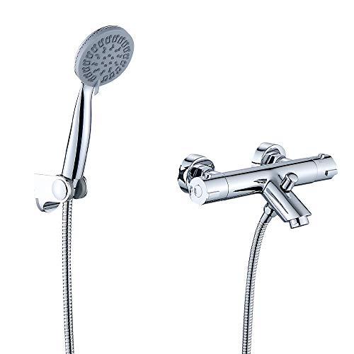 JOHO Thermostat Badewannenarmatur mit Handbrauseset Duschset Duschsystem Wannenarmatur Duschthermostat Mischbatterie Brausethermostat Wannenfüll und Brausearmatur mit ABS Handbrause