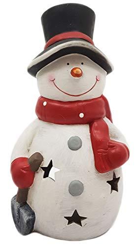 Wichtelstube-Kollektion XXL Deko Figur Schneemann 30cm Windlicht Weihnachtsfigur Keramikfigur Weihnachten