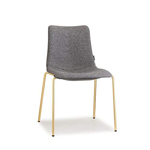 Scab Set 2 Design Zebra Pop Stuhl Satin-Messing-Effekt Beine und klassischer Grauer Stoff Sitz Luisa Satin