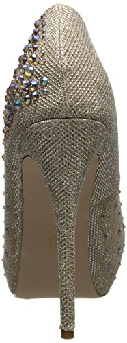 Pleaser Destiny 06r, Escarpins et Chaussures à Talon avec Semelle Plateforme Femme Nude Glitter Mesh Fabric