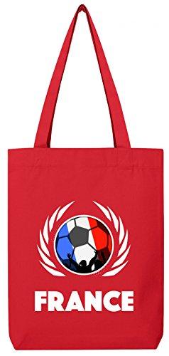 France World Cup Fussball WM Bio Baumwoll Tote Bag Jutebeutel Stanley Stella Fußball Frankreich Red