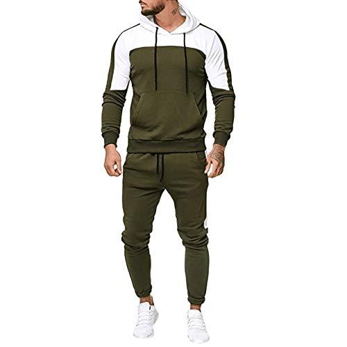 chándal para Hombre, Moda Casual otoño e Invierno Chandal Completo para Hombre Sudadera con Capucha de Manga Larga + Pantalones Deportivos Conjuntos (L, Verde)