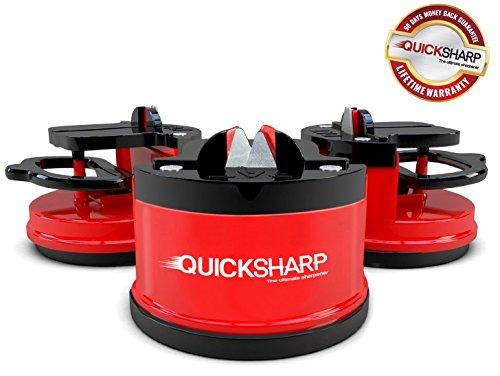 quicksharp® Messerschärfer, L 'Schleifgerät einfach und sicher für Koch Profi und Amateur–Ergebnis ultra-précis und Benutzerfreundlichkeit dank seiner Befestigung Saugnapf (rot)