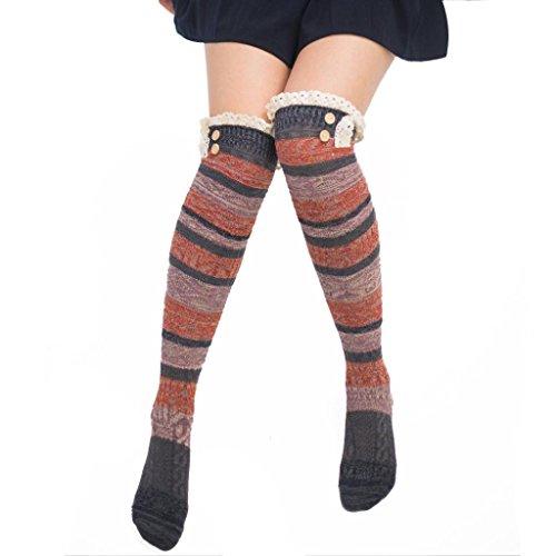 Saingace Frauen-Winter-warme Kabel-lange Stiefelsocken über Knie-Schenkel-hohen Strümpfen (Tiefgrau) (Knie-länge-knie-hohe Strümpfe)