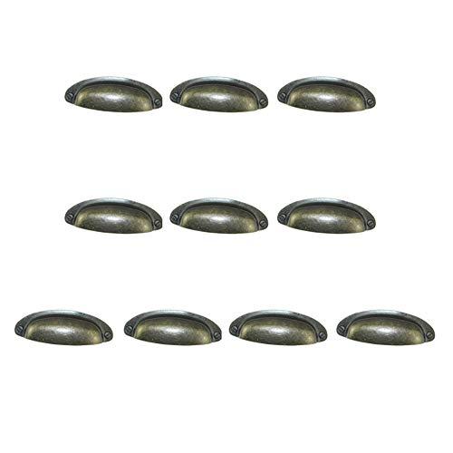 iff Set / 10Pcs Öl eingerieben Cup zieht Shell-Shap Half Moon Antik Bronze Eisen Vintage rustikalen Schrank Schublade Stoßgriffe, Landschaft Bauernhaus Cabin Attic Decor Schubladens ()