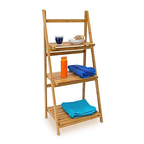 Relaxdays Leiterregal Bambus H x B x T: 100 x 45 x 33 cm Badregal mit 3 praktischen Ablageflächen auch als Standregal und Küchenregal zu verwenden zum Auf- und Zuklappen für Bad und Wohnraum, natur