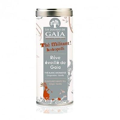 JARDINS DE GAÏA - Rêve éveillé de Gaïa ( Thé Militant Kokopelli) Tube 40 g - Thé Blanc aromatisé Gingembre - Vanille