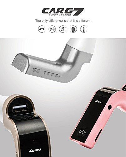 MAXIPRO® Wireless Bluetooth Handsfree Kit FM Transmitter MP3Player Ladegerät mit 3,5mm Audio Mikrofon Port, TF Card Slot, 3,7cm-unterstützt Display Auto Akku Spannung für iPhone 7Plus 66S 6Plus 5S 5C 54S, HTC und alle Bluetooth-Geräte–Gold (Silber)