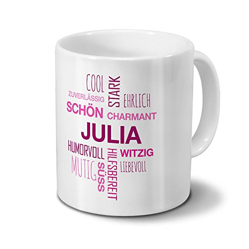 Tasse mit Namen Julia Positive Eigenschaften Tagcloud - Pink - Namenstasse, Kaffeebecher, Mug, Becher, Kaffeetasse