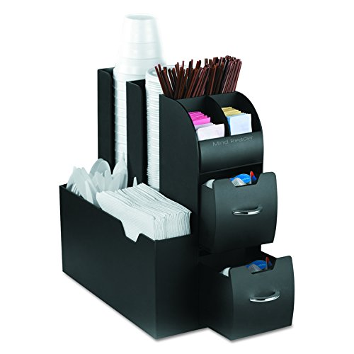 Mind Reader Café condiment Caddy Organiseur 6 noir