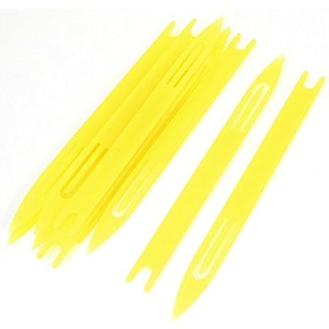 10 piezas de plástico amarillo red de pesca de la aguja de reparación Traslados bobina 6 #
