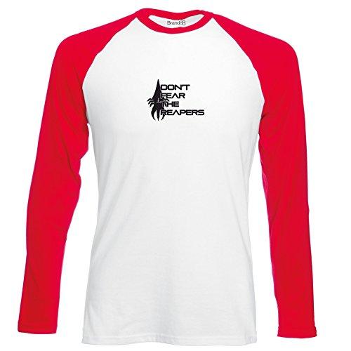 Brand88 - Don't Fear, Langarm Baseball T-Shirt Weiss & Rot