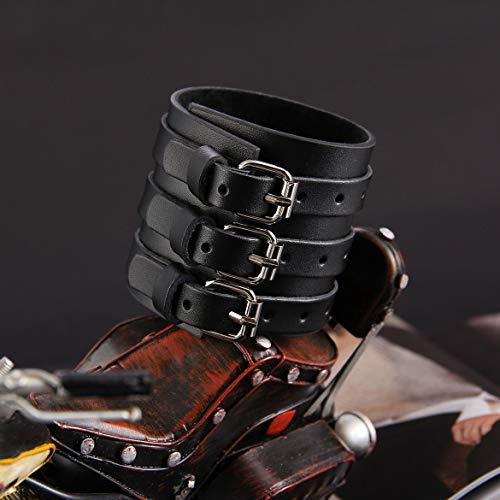 3 Ebene Gurt-Leder-Armband am Handgelenk Punk großer weiten Stulpe-Armband-Armband-Armband-handgemachte Armband-Schmucksachen der Männer und Frauen (Schwarz) -