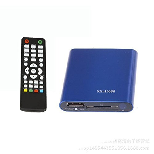 Sannysis 1080P Mini HDD Media Player MKV/H.264 / RMVB HD mit HOST USB/SD-Kartenleser (Blau)