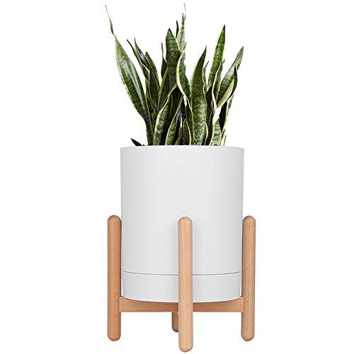 Moutik Holz-Pflanzenständer mit Topf, modernes Blumenständer, 16,5 cm für den Innen- und Außenbereich, perfekte Kombination für Mini-Kaktus, Aloe Schlangenpflanze etc. (Topf inklusive), weiß weiß -