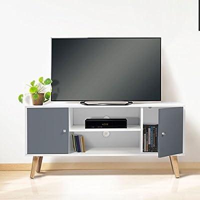 IDMarket - Meuble TV EFFIE scandinave bois blanc et gris de IDMarket - Meubles TV , Meubles TV, Supports & Meubles TV