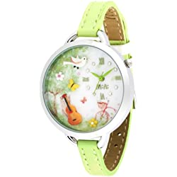 Women's Green Leather 3D Dial 'Mini World' Watch - Butterfly & Guitar Design
