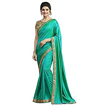 OM SAI LATEST CREATION Silk Saree With Blouse Piece(Sarees for Women (dupli-s1051)_Green_Free Size)