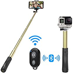 MoKo Bastone Selfie, Selfie Stick Wireless Asta per Selfie in Alluminio Estendibile fino 96cm, Otturatore Remoto Wireless, per Smartphone iphone XS/XS Max/XR - Oro